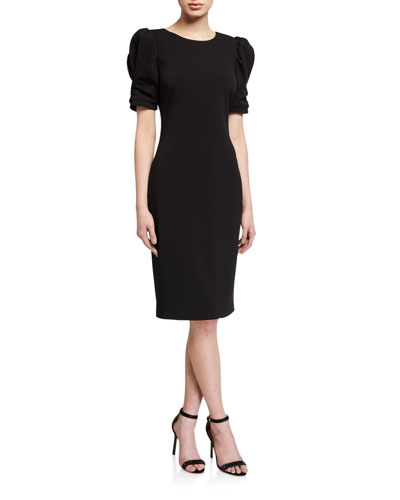 Ruched Short-Sleeve Crepe Sheath Dress