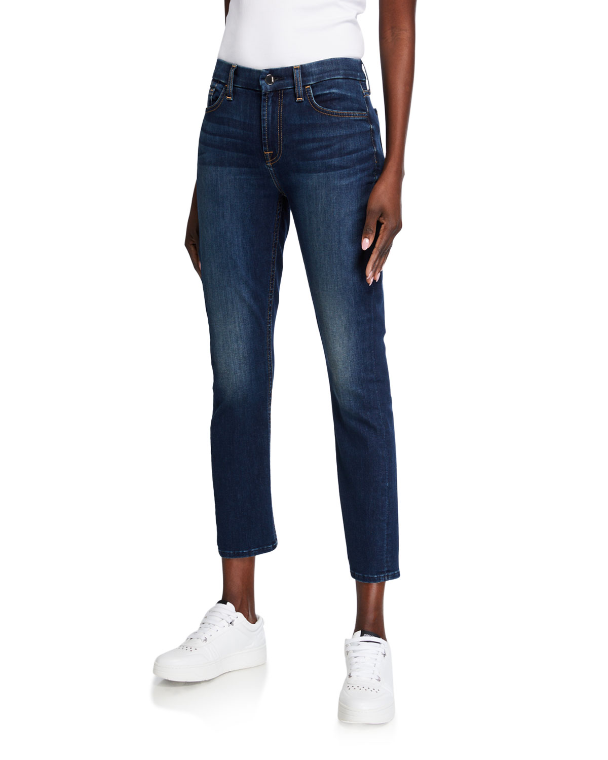 Ankle Straight Mid-Rise Jeans