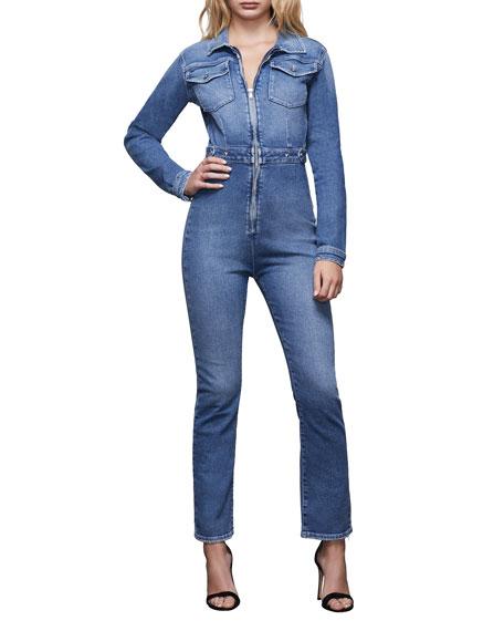 Good American Exposed Zip Denim Jumpsuit - Inclusive Sizing