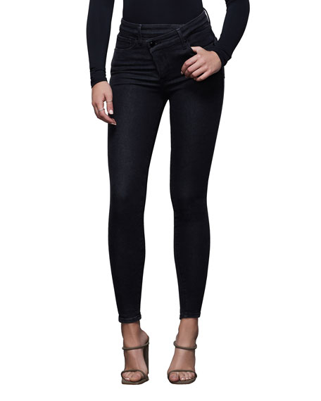 Good American Good Waist Crossover Skinny Jeans - Inclusive Sizing