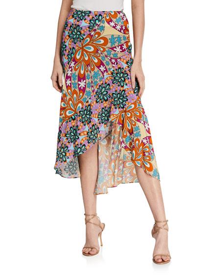 PINKO Gallette Printed High-Low Skirt