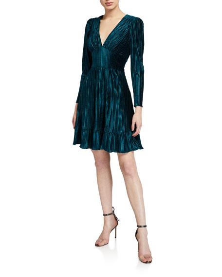 Shoshanna Laine V-Neck Long-Sleeve Pleated Velvet Dress