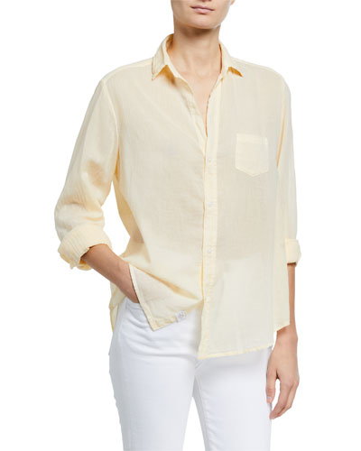 Eileen Solid Voile Long-Sleeve Button-Down Shirt
