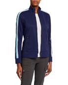Anatomie Jojo Zip-Front Stripe-Sleeve Jacket