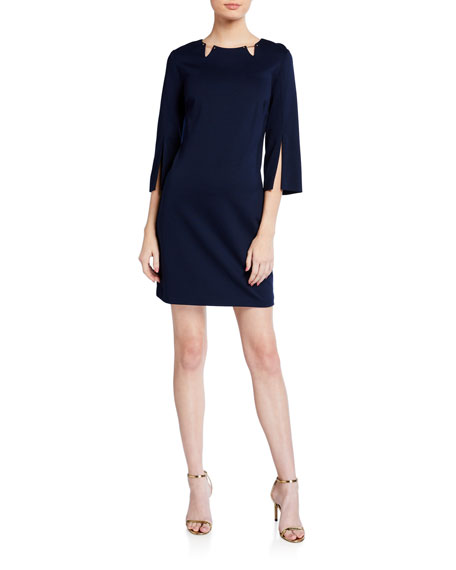Trina Turk Trekking Split-Sleeve Ponte Dress