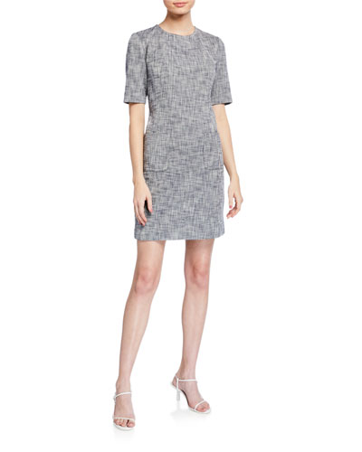 Paradiso Crosshatch Short-Sleeve Sheath Dress
