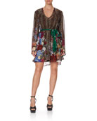 Camilla Animal Print Silk Bell-Sleeve Dress