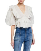 Rhode Elodie Metallic Puff-Sleeve Ruffle Crop Top