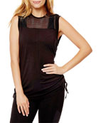 Blanc Noir Tao Side-Ruched Muscle Tunic