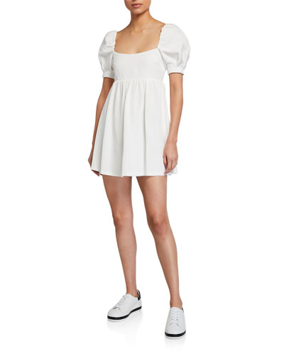 Bauery Puff-Sleeve Babydoll Dress