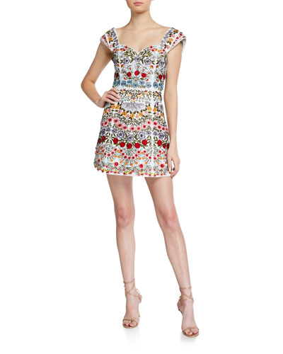 Roz Embroidered Pleated-Sleeve Party Dress
