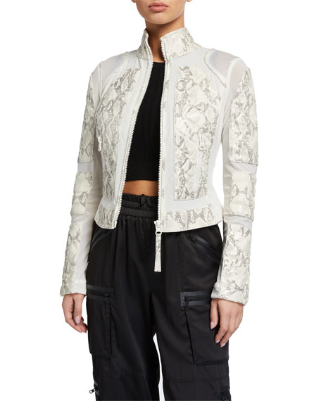 Blanc Noir Snake Leather Moto Jacket