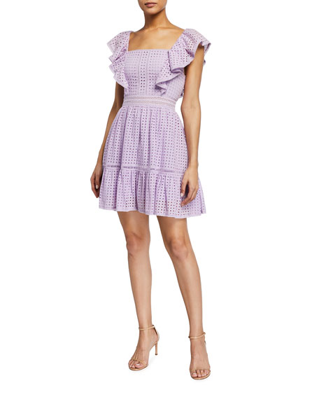 Alice + Olivia Remada Embroidered Ruffle Dress