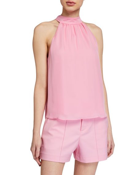 Alice + Olivia Gloria Halter Blouse with Tie-Neck Bow