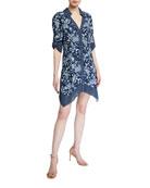 Alice + Olivia Conner Roll-Sleeve Handkerchief Shirtdress