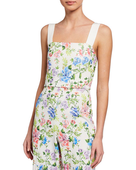 Alice + Olivia Nika Fitted Crop Top w/ Tie Straps