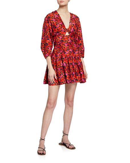 Derek Lam 10 Crosby Talia Floral-Print Keyhole Mini Dress