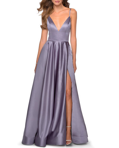 Deep V-Neck Lace-Up Back Satin A-Line Gown