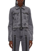 Helmut Lang Fem Little Zip-Front Trucker Jacket