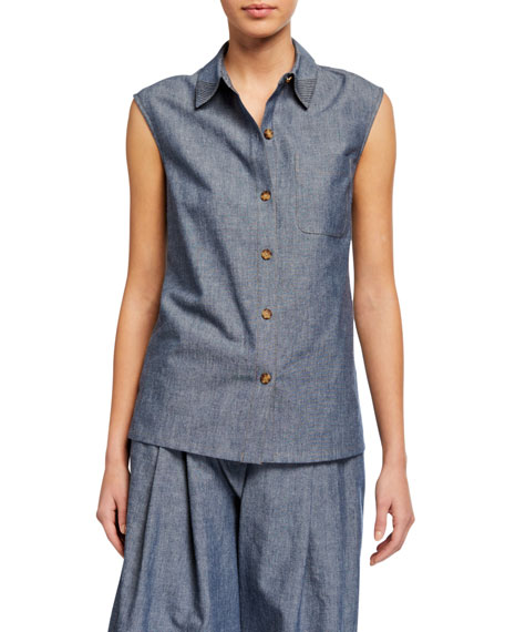 Lafayette 148 New York Yani Washi Cloth Sleeveless Button-Front Blouse