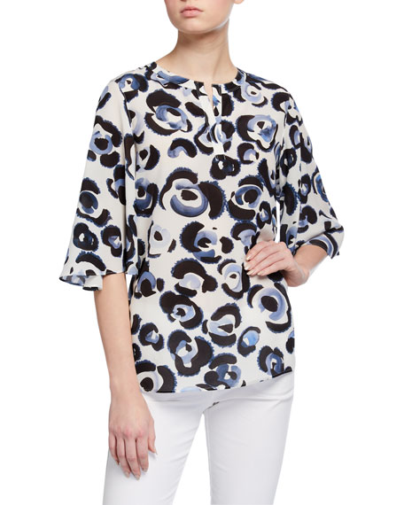 Lafayette 148 New York Barker Painterly Animal Print Silk Blouse