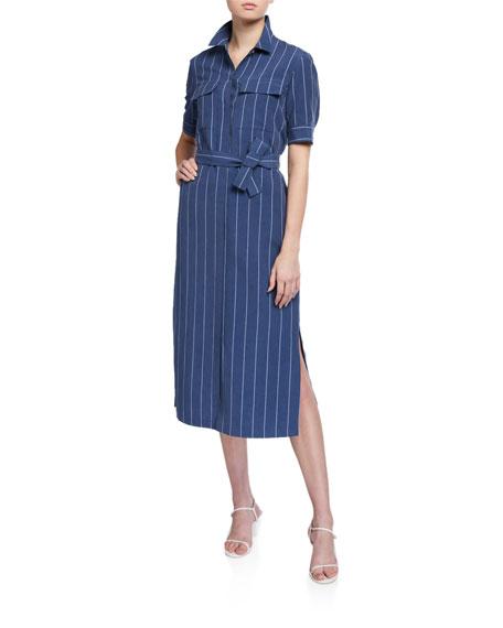 Lafayette 148 New York Doha Stately Stripe Short-Sleeve Shirtdress