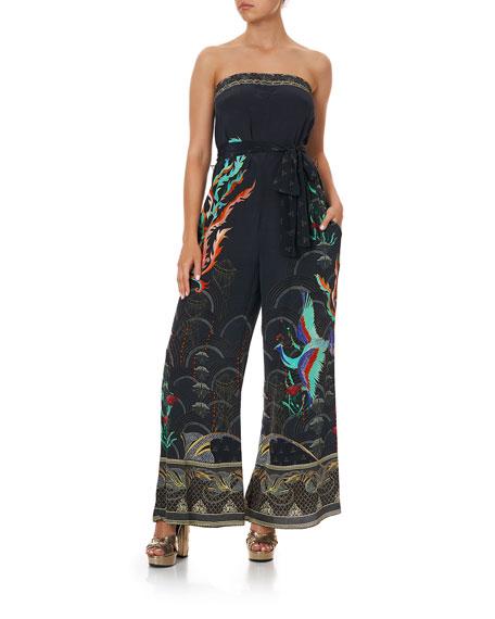 Camilla Silk Tie-Waist Strapless Jumpsuit