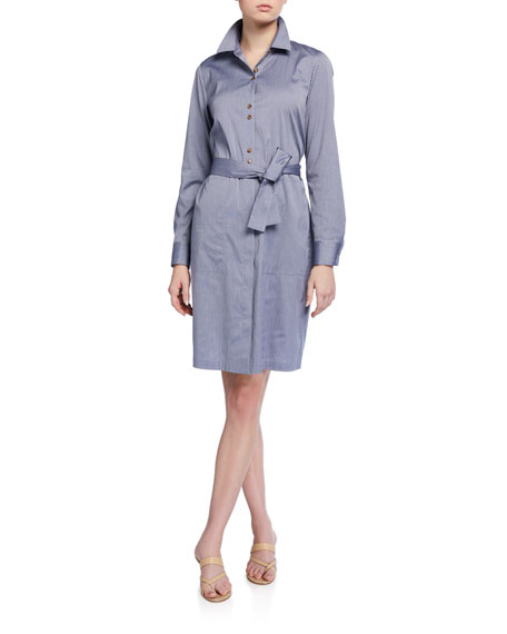Lafayette 148 New York Michelle Felicity Stripe Long-Sleeve Shirtdress