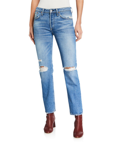 Rosa Mid-Rise Distressed Boyfriend Jeans