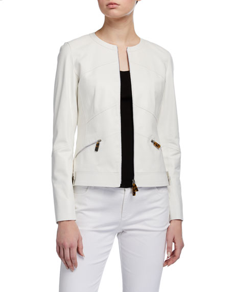 Lafayette 148 New York Adeline Glove Lambskin Zip-Front Jacket
