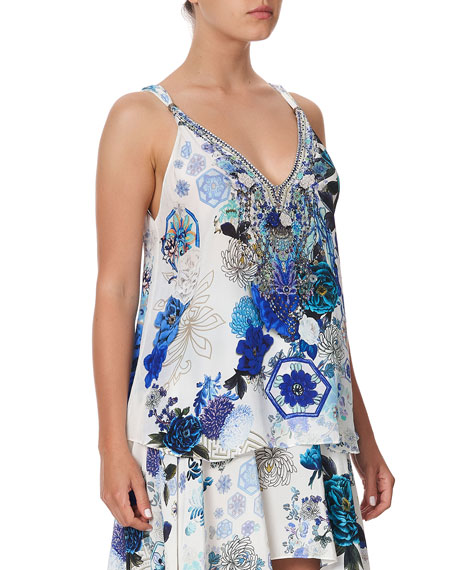 Camilla Printed Tank Top w/ Beaded Straps