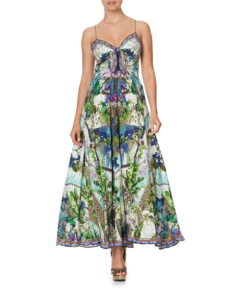 Camilla Long Print Dress with Tie Front
