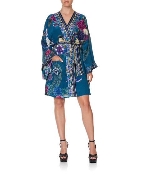 Camilla Printed Silk Kimono w/ Belt