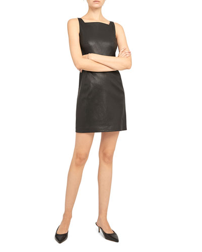Square-Neck Leather Short Dress