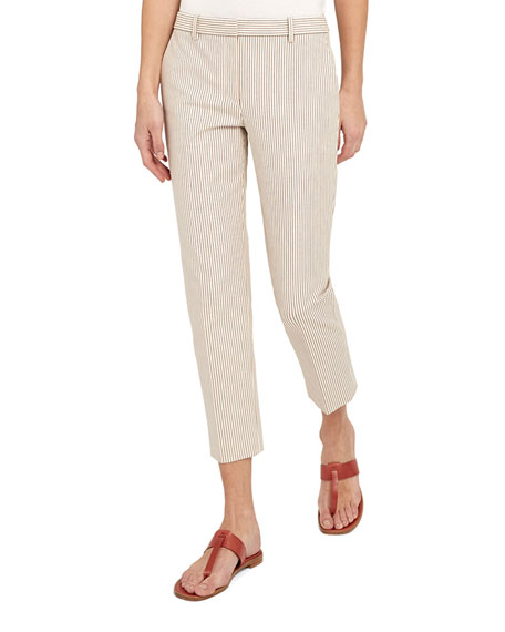Theory Treeca 4 Striped Straight-Leg Pants