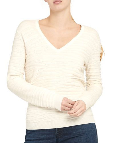 Plush Zebra V-Neck Pullover