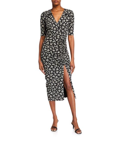 Veronica Beard Jeans Mariposa 3/4-Sleeve Floral Midi Dress