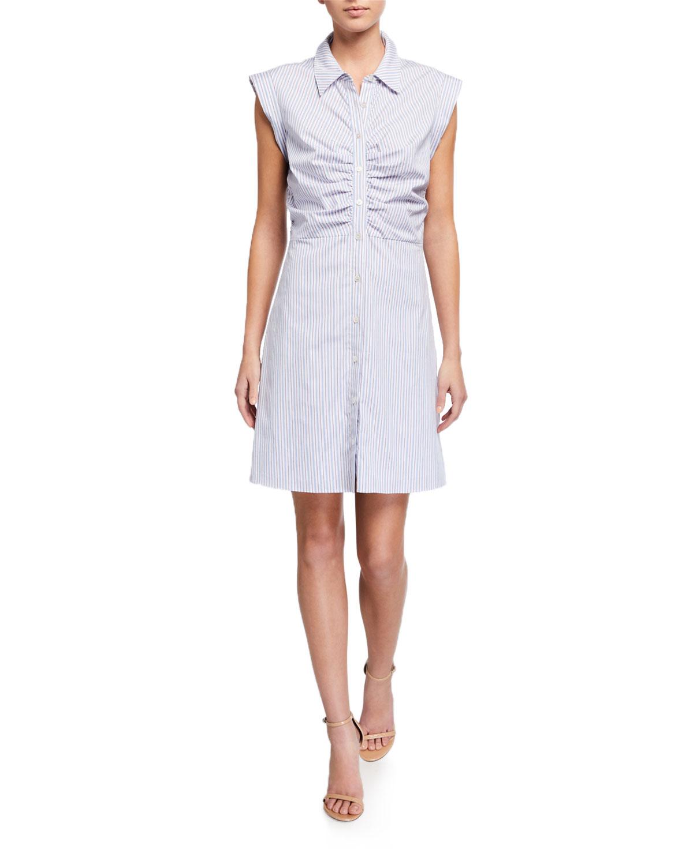 Veronica Beard Dresses FERRIS STRIPED BUTTON-DOWN DRESS