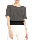 Theory Geometric Short-Sleeve Ribbed Waist Top