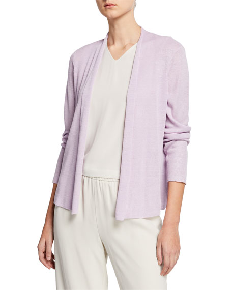 Eileen Fisher Plus Size Open-Front Long-Sleeve Shaped Organic Linen Cardigan