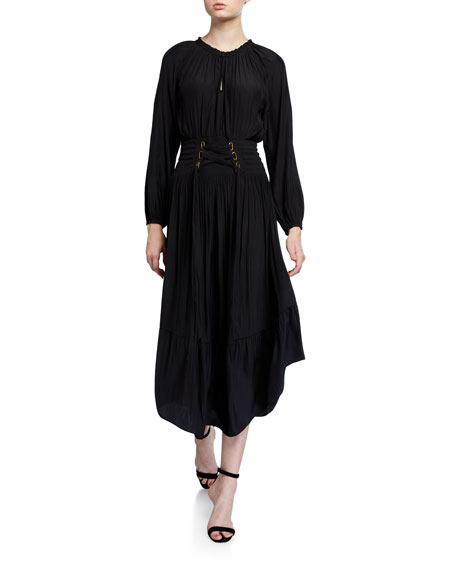Ramy Brook Morgen Long-Sleeve Dress w/ Lace-Up Waist
