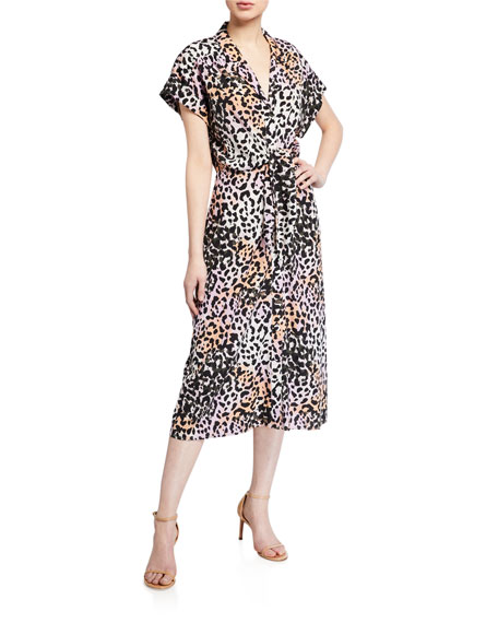 Veronica Beard Amani Leopard-Print Midi Dress
