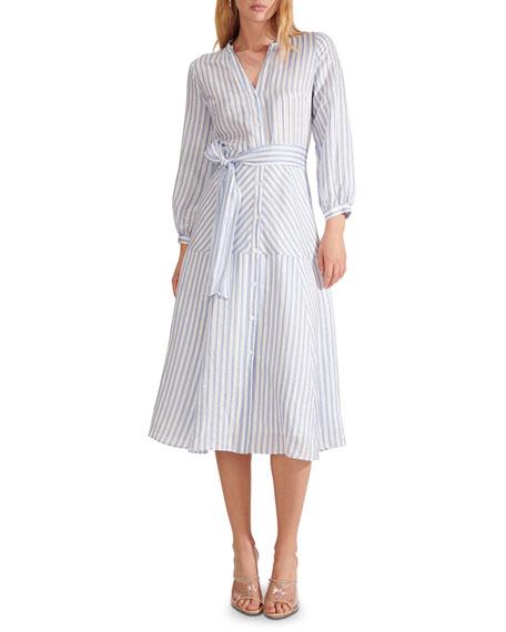 Veronica Beard Jenna Striped Tie-Waist Dress