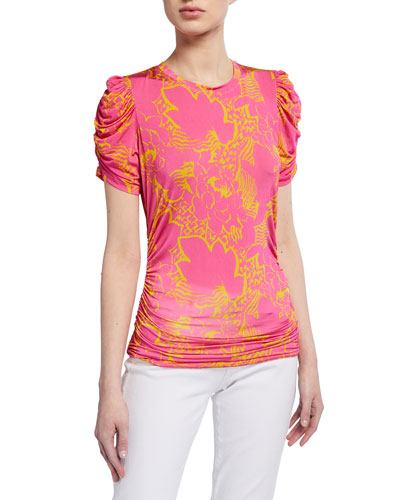 Chaia Ruched Printed Top