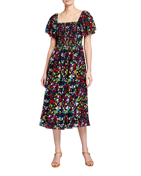 Tanya Taylor Glenda Smocked Square-Neck Midi Dress