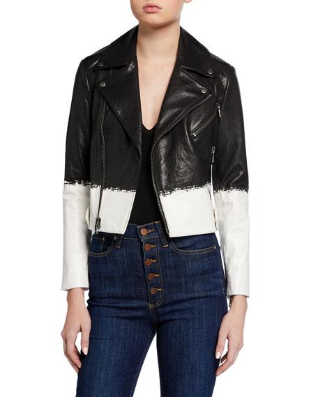 Alice + Olivia Cody Leather Cropped Moto Jacket