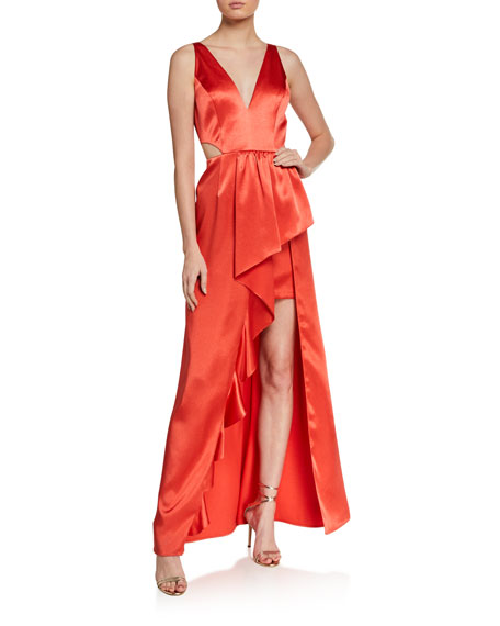 Aidan by Aidan Mattox Sleeveless Cutout High-Low Satin Flounce Gown