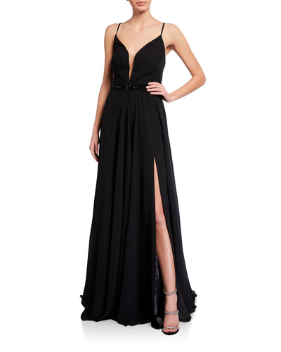 Deep V-Neck Beaded-Waist Lace-Up Chiffon Gown