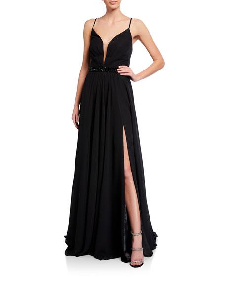 Faviana Deep V-Neck Beaded-Waist Lace-Up Chiffon Gown