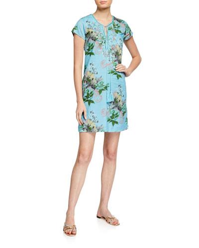 Leaves Cap-Sleeve Beaded Front Short Dress
